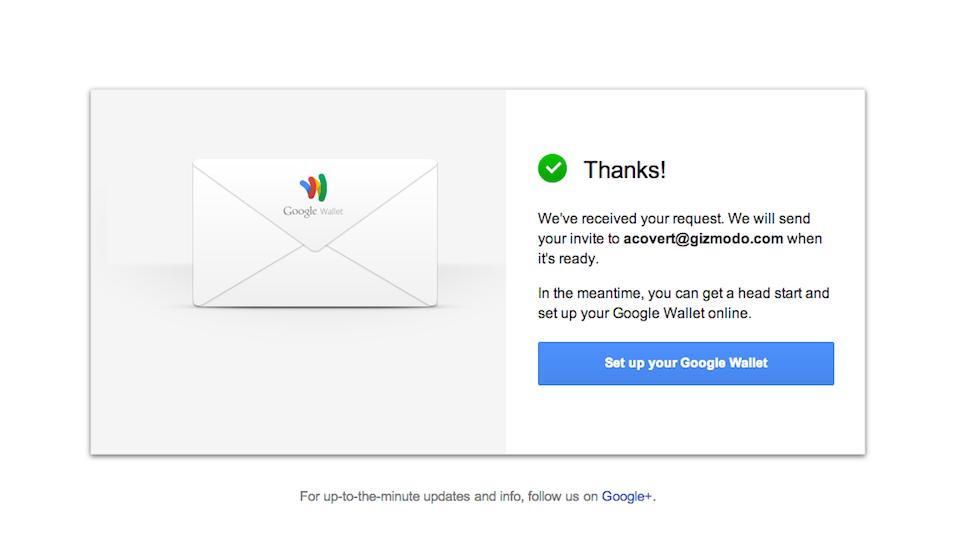 Convite para o Google Wallet.