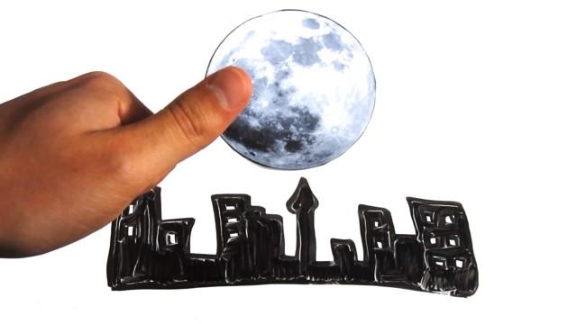A lua tem o mesmo tamanho a noite inteira.