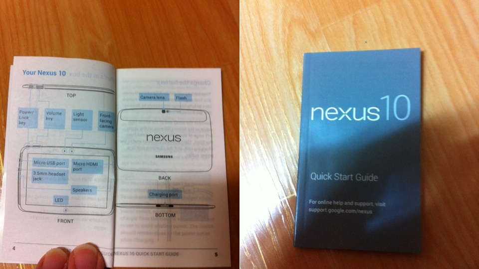 Manual vazado do Nexus 10.