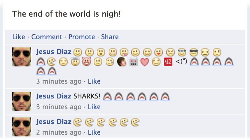 Emoticons nos comentários do Facebook.