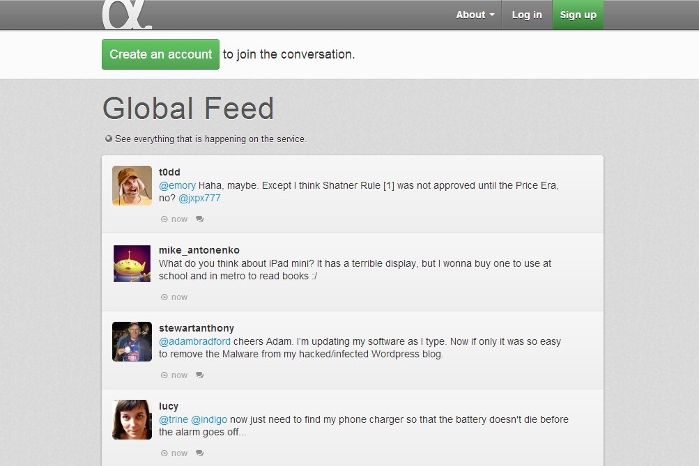 Feed global do App.net.
