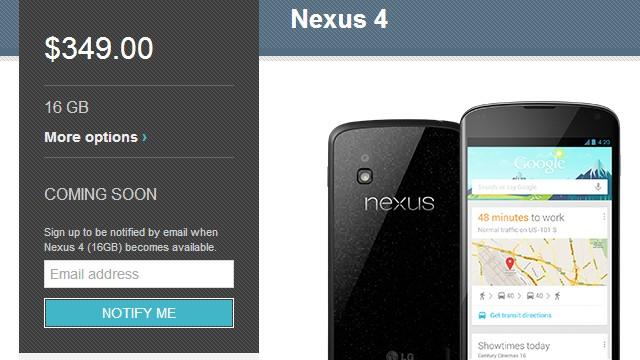 Nexus 4 esgotado.