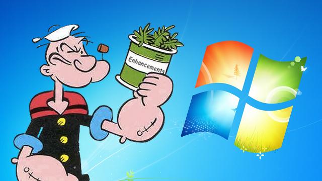 Windows 7 com muito espinafre.