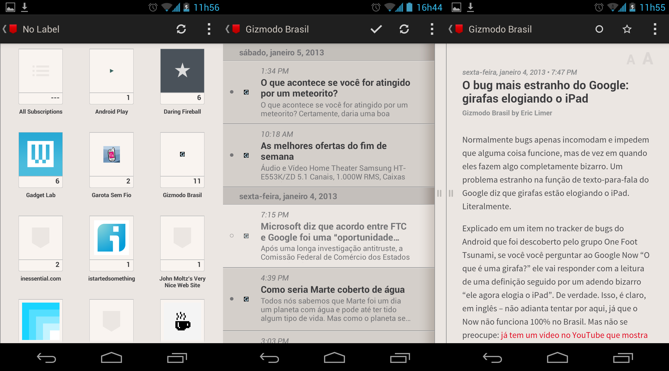 Screenshots do Press, app para Android.