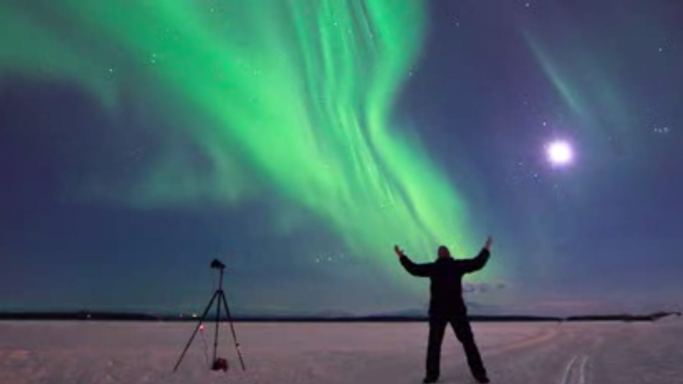 Aurora boreal de quatro horas.