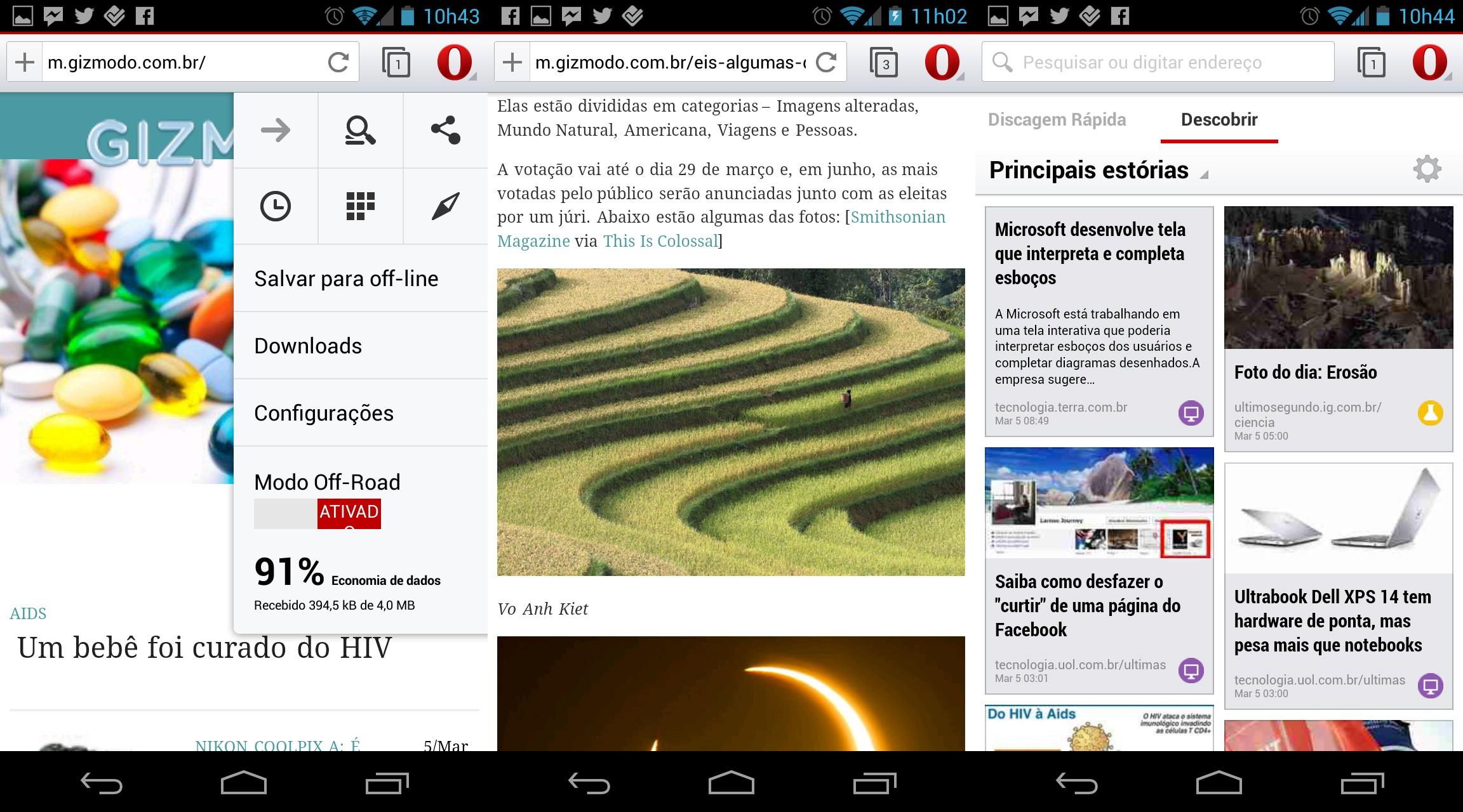 Opera Beta para Android.