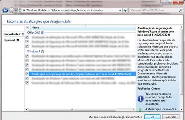 falha update windows 7