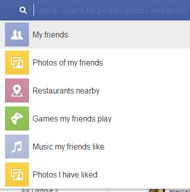 Sugestões de busca do Facebook.