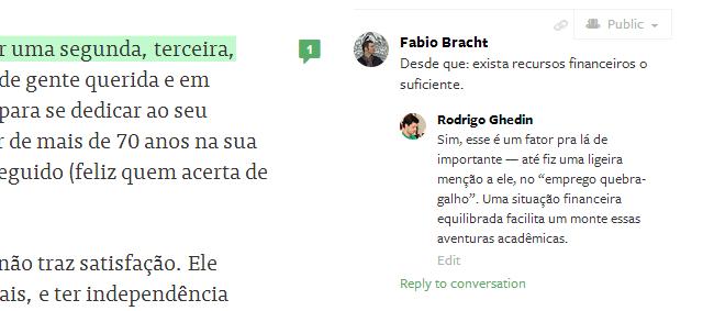 Comentários por parágrafo no Medium.