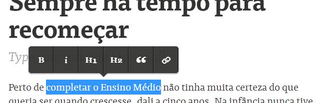 O editor WYSIWYG do Medium.