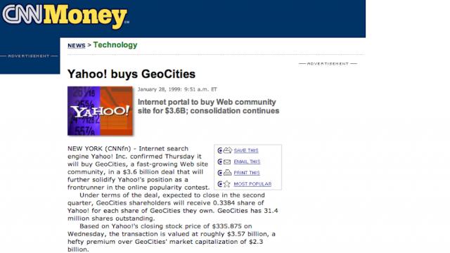 Press release da compra do GeoCities