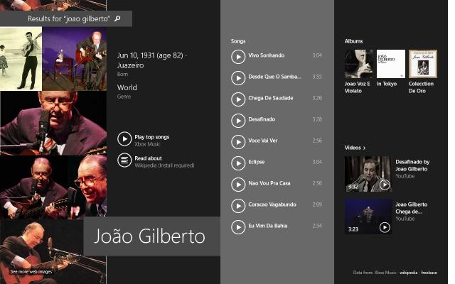 Músicas abrem direto no Xbox Music.