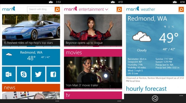 MSN, para Windows Phone.