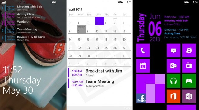 Simple Calendar, para Windows Phone.