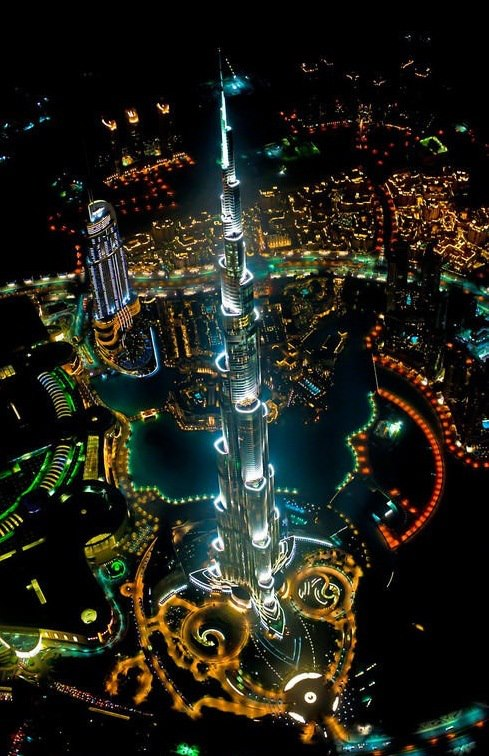 Tallest building in the world, from a helicopter, at night - Imgur
