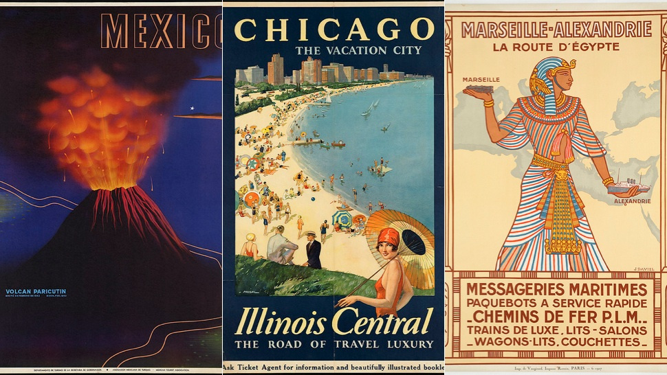 Cartazes de viagem vintage.
