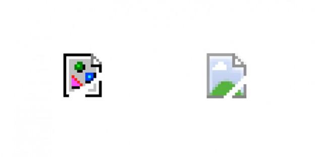 Ícones de imagem quebrada.