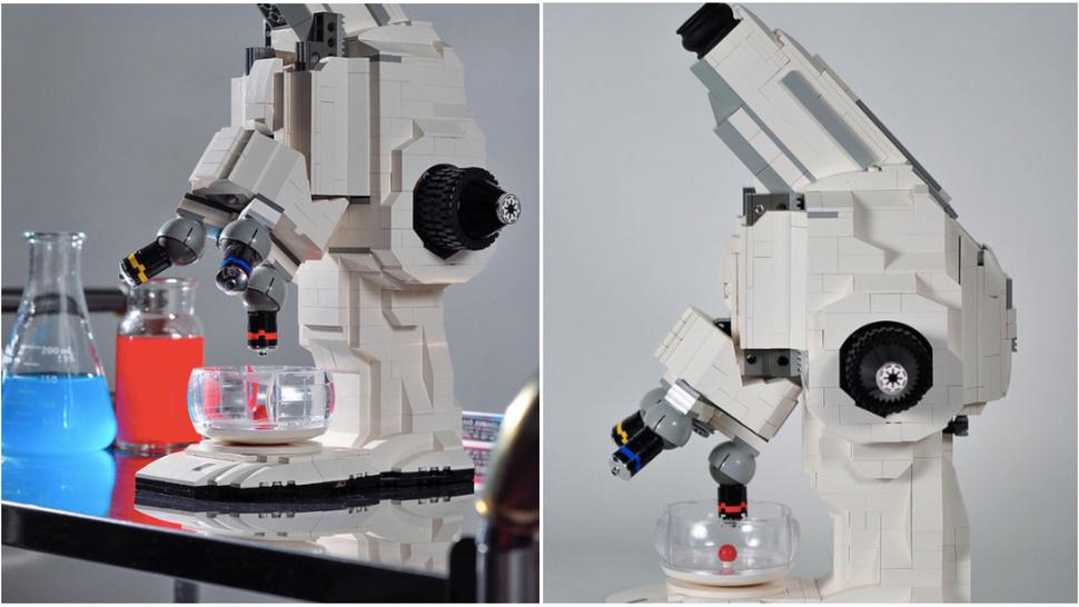 Um microscópio feito de Lego.