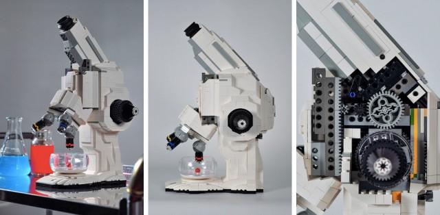 Vários ângulos do microscópio de Lego.