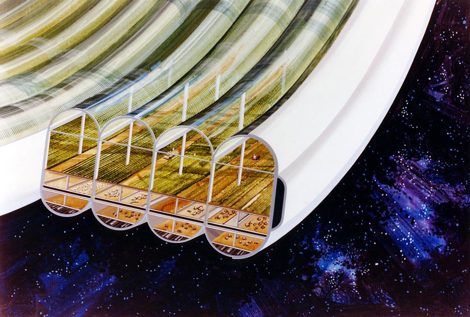 A estação espacial imaginada nos anos 1970.