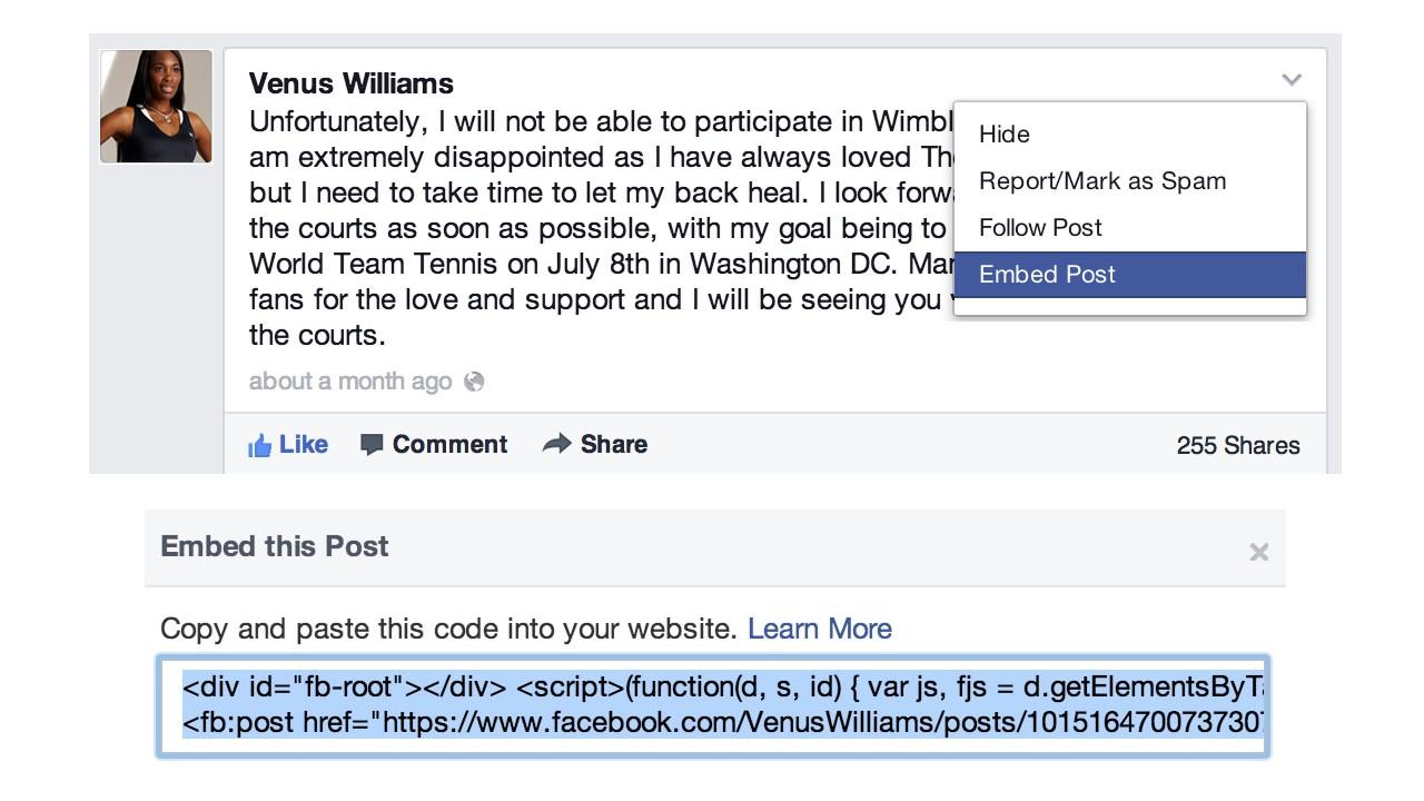 Incorporação de posts do Facebook.
