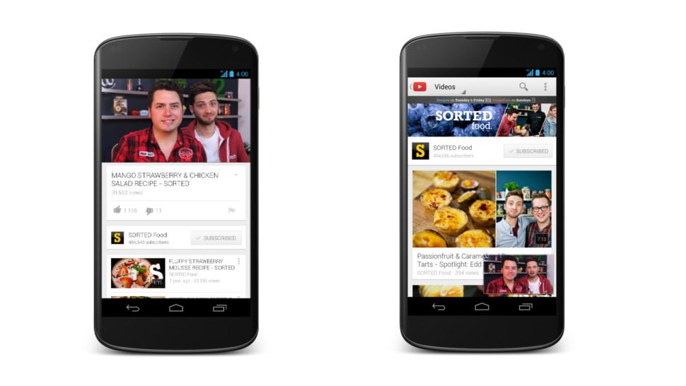 Novo YouTube para Android.
