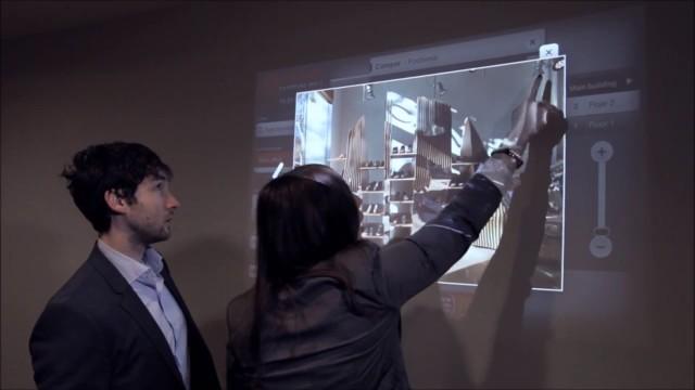 Uma parede touchscreen.