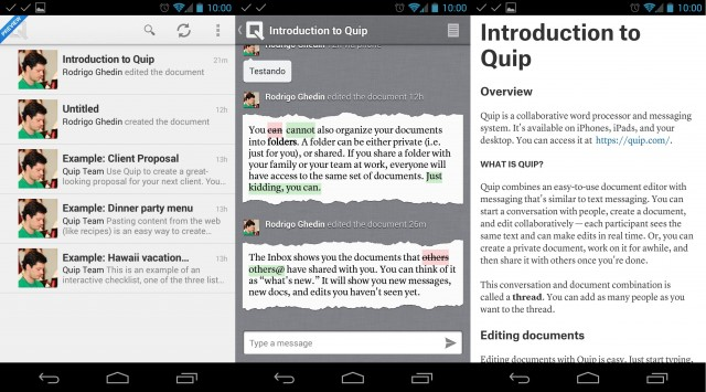 Quip Preview no Android.