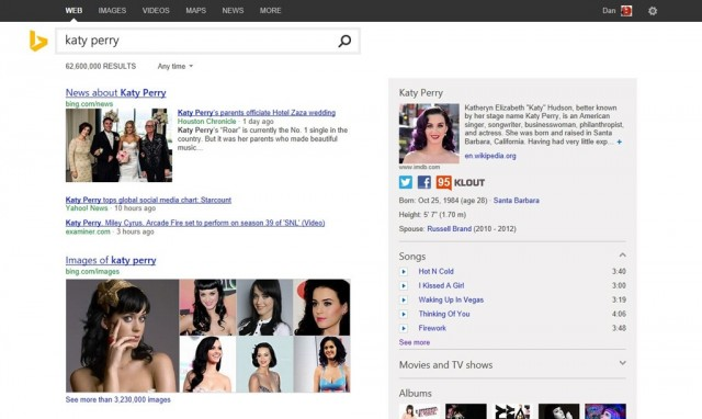 Novo Bing resultados