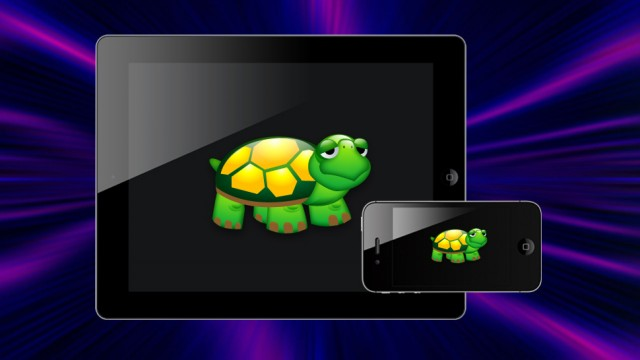 iPhone e iPad com tartarugas