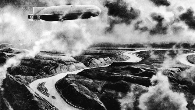 A Zeppelin Flies Over The Balkans