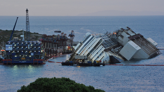 Engineers Attempt To Raise The Costa Concordia Cruise Ship After It Sank In 2012