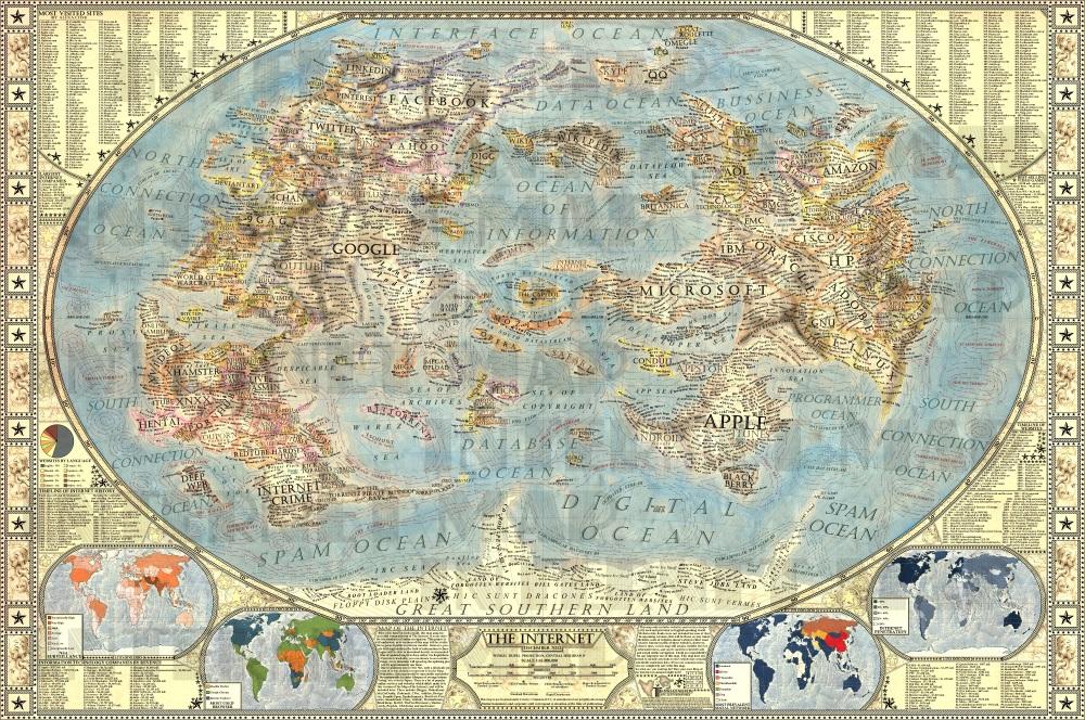 Este belo mapa da internet é incrivelmente detalhado