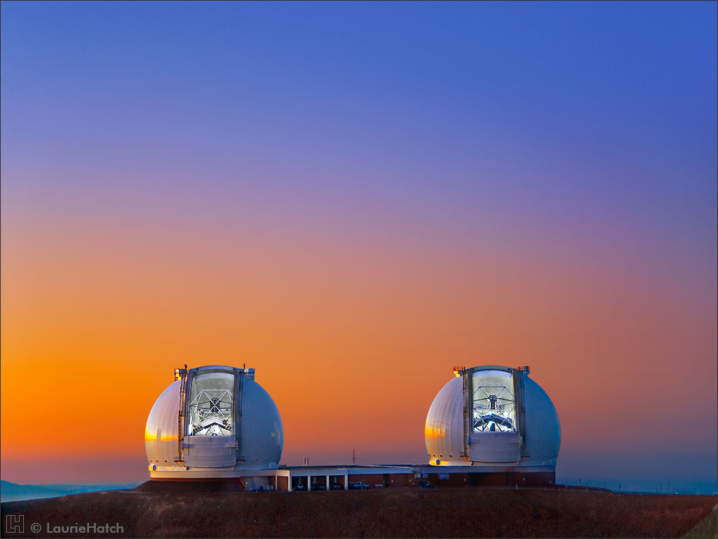 Twin 10-meter Keck Telescopes at Sunset
