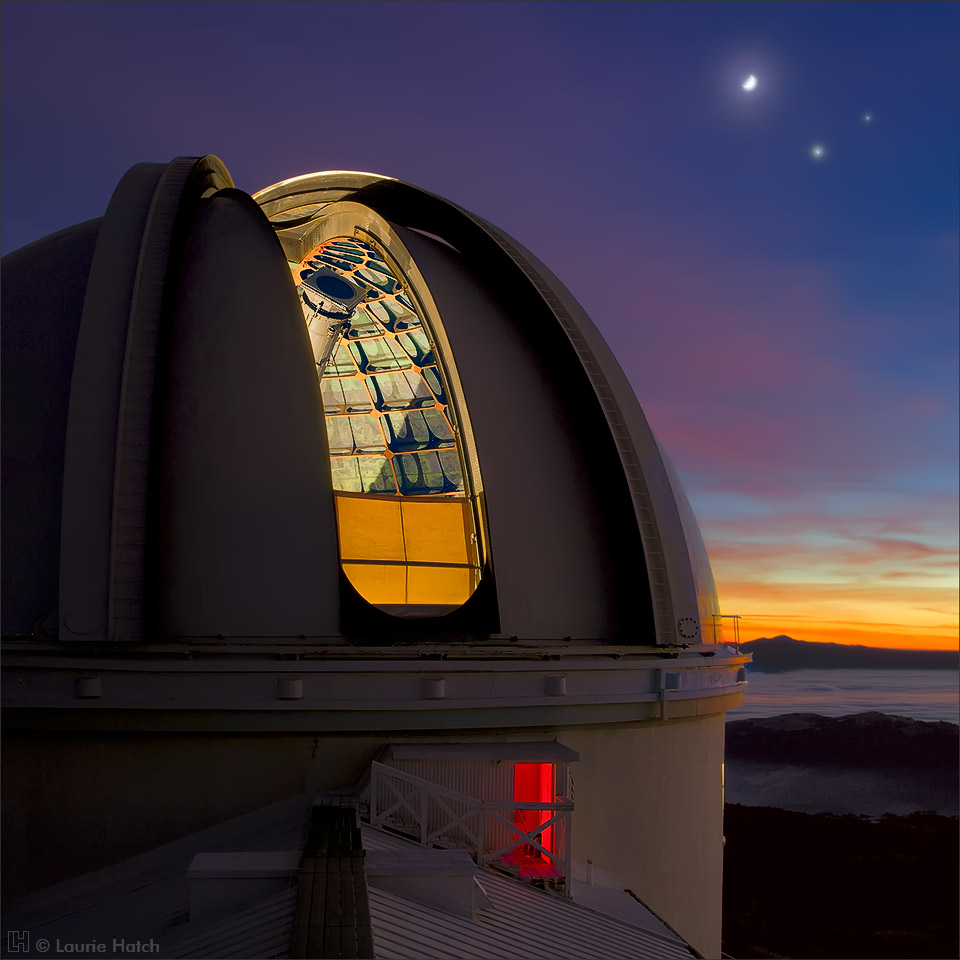 A conjunction of the moon, Venus, and Jupiter as seen from the roof of the Main Building at Lick Observatory.