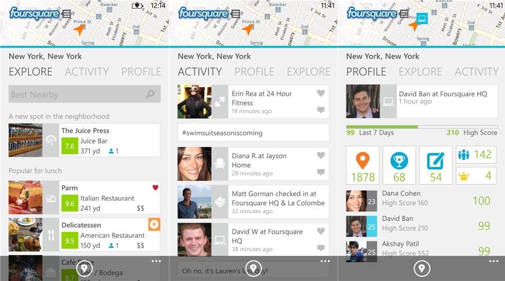 foursquare windows phone