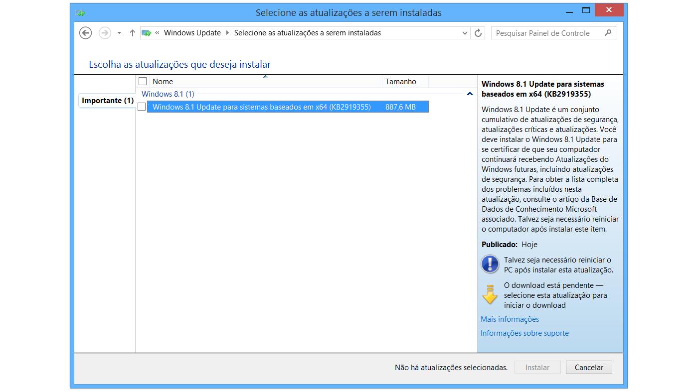 windows 8.1 update instalacao