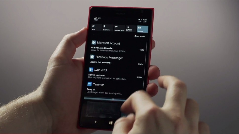 windows phone 8.1 action center