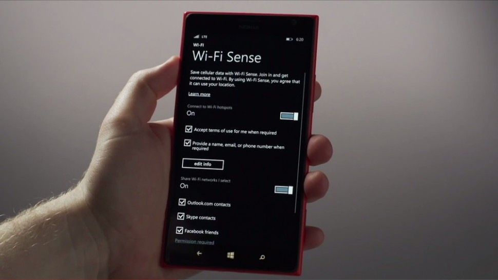 windows phone 8.1 wi-fi sense