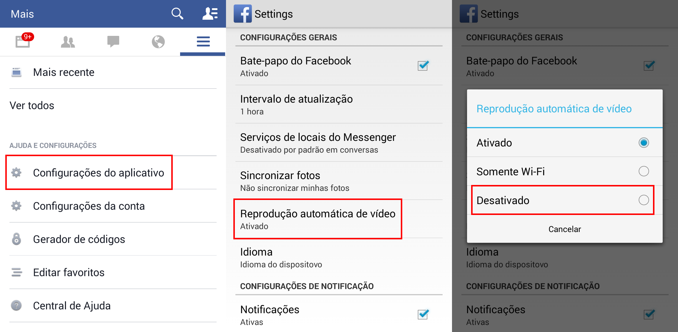 Configurações de vídeo no Facebook para Android