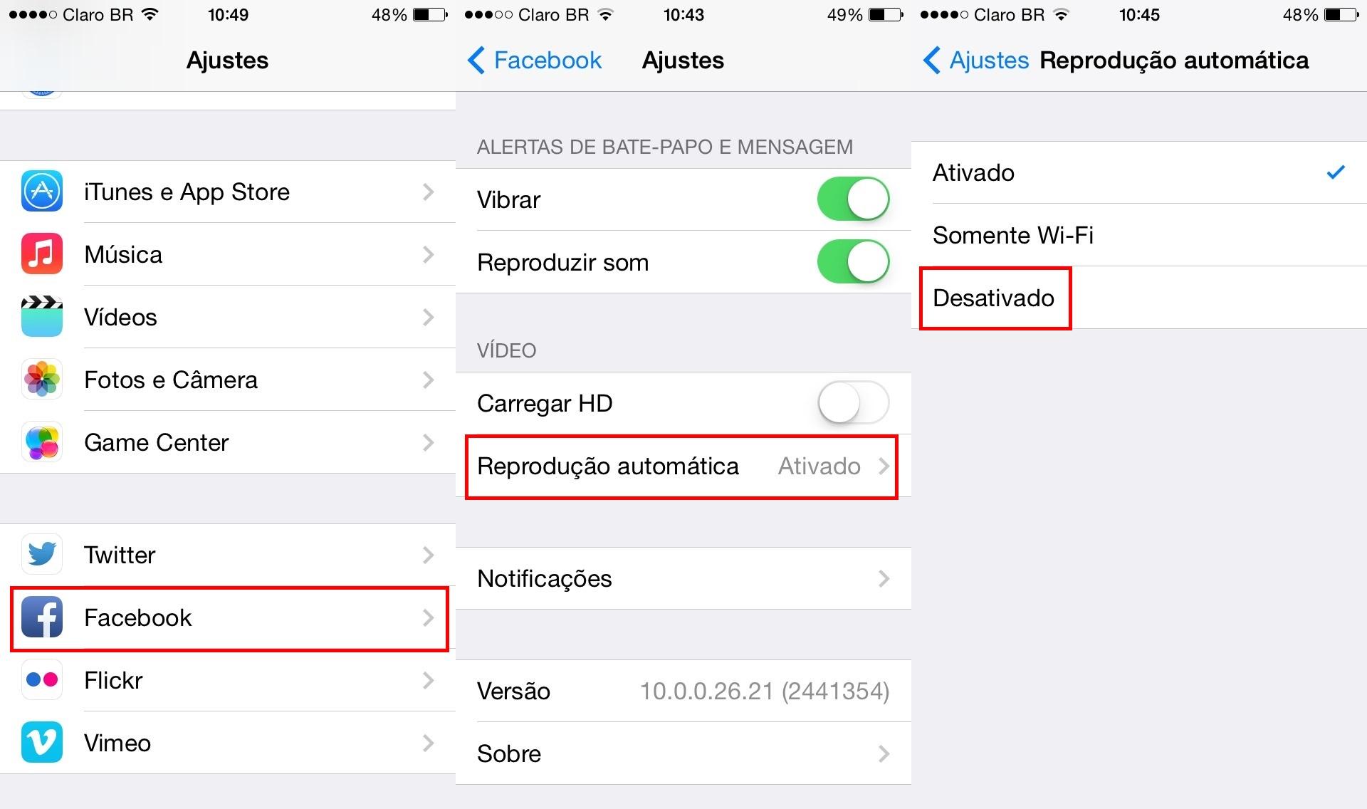 Configurações de vídeo no Facebook para iOS