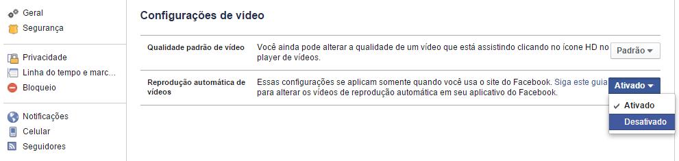 Configurações de vídeo no Facebook