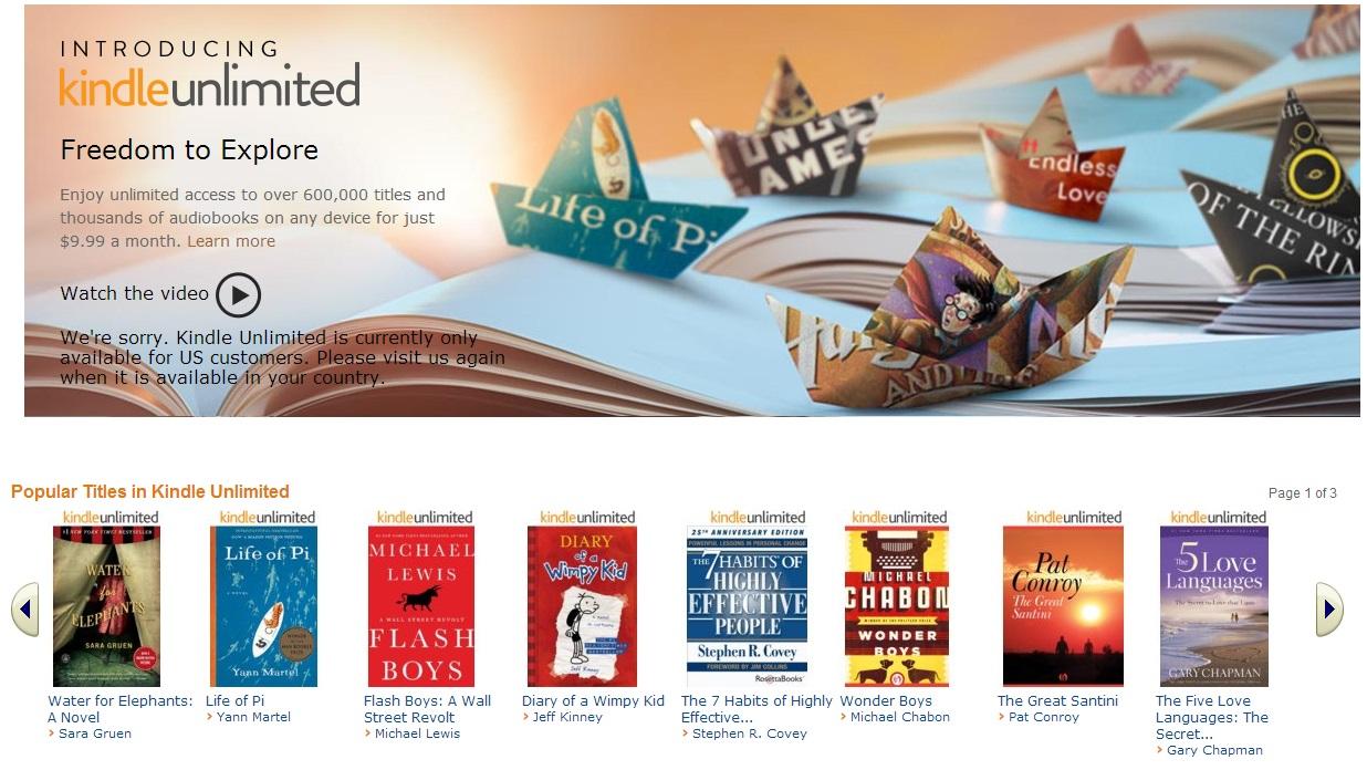 Captura de tela do serviço Kindle Unlimited em inglês