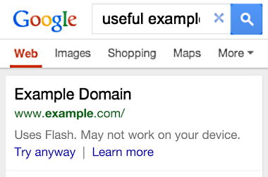 search result google flash