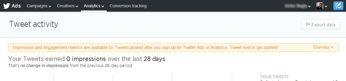 twitter dashboard erro