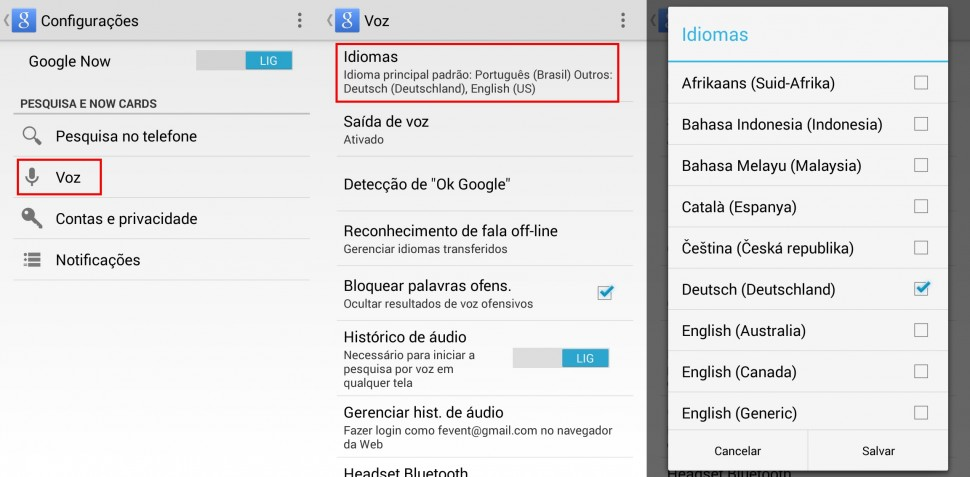 google now idiomas