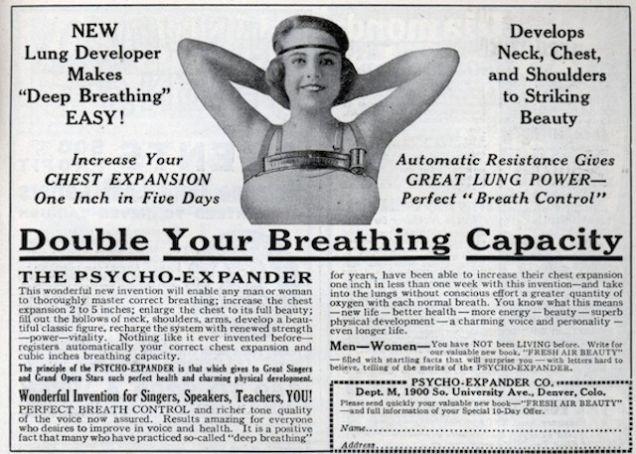 """Uma propaganda de 1924 promete que esse equipamento vai """"aumentar seus seios até sua total beleza"""". Via ModernMechanix.com."""
