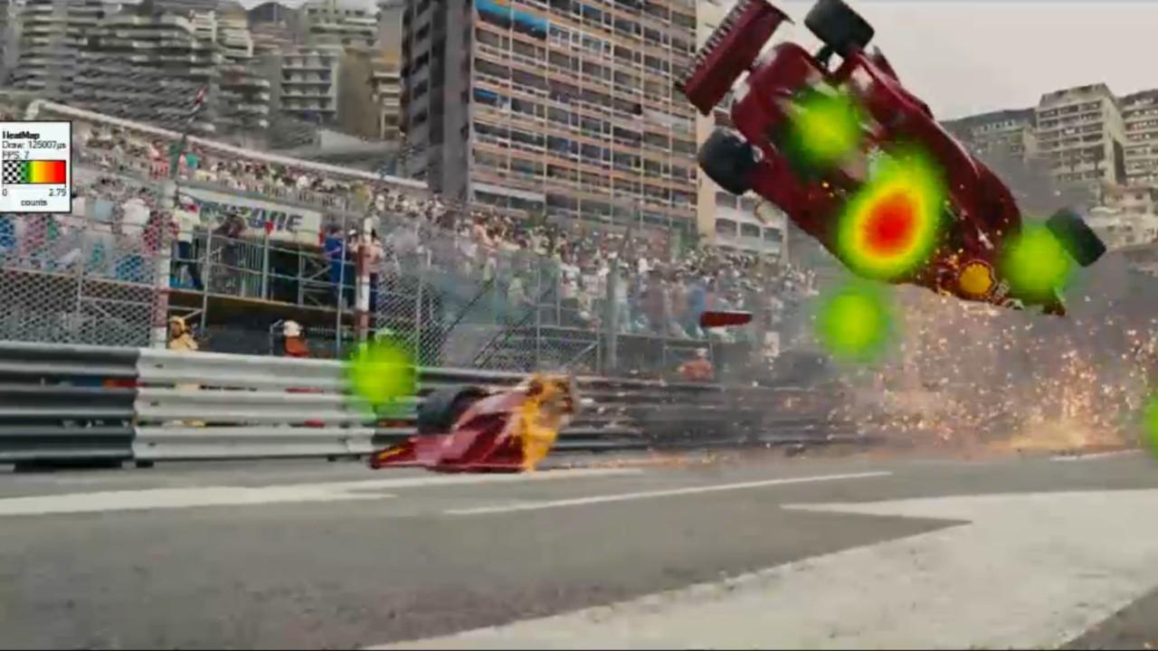 Mapa de calor em cena do Homem de Ferro 2.