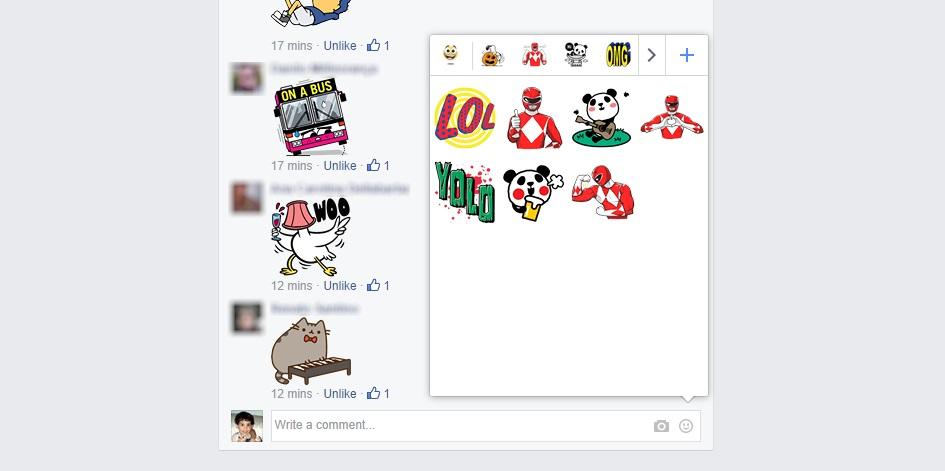 Stickers nos comentários do Facebook