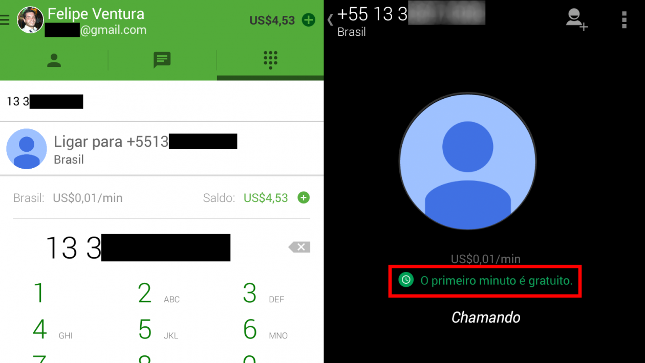 hangouts ligar android minuto